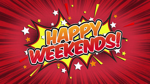 Happy weekends Word Retro Cartoon Comic Bubbles Seamless loop ( green Screen ) Animation