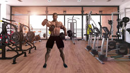 African man exercising in gym ,loop,animation Animation