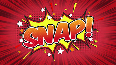Snap Word Retro Cartoon Comic Bubbles Seamless loop ( green Screen ) Animation