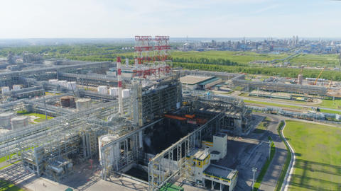 Gas Refinery Plant Production Towers Upper View 영상물