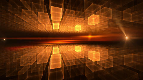 Orange Cubic Geometrical Horizon with Flare Animation