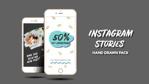 Instagram Stories. Hand Drawn Pack Premiere Pro Template