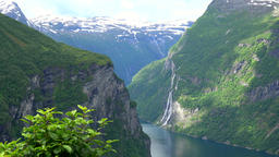 Norway Geirangerfjord gorge and curve with the Seven Sisters Waterfall Footage