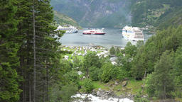 Norway Geirangerfjord Fossevandring waterfall and cruise vessels at anchor Footage