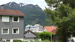 North Europe Norway Geiranger Norwegian homes and AIDA cruise ship Footage