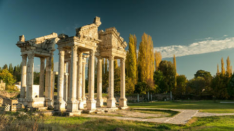 Ancient ruins of Aphrodisias. Tetrapylon was the monumental gate of the Temple Footage