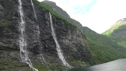 Norway Geiranger natural beauty of the Geirangerfjorden with waterfall Filmmaterial