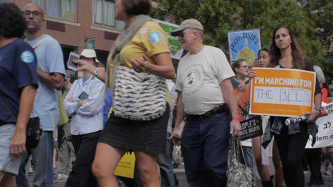 NEW YORK CITY, UNITED STATES - SEPTEMBER 21, 2014 - A peaceful protest in NYC Footage