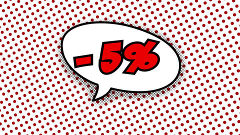 five percent discount text in speech balloon in comic style Animation