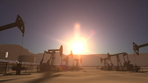 Sunrise over oil field with pumpjacks and pipeline Animation