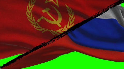 Soviet Russia VS Democratic Russia Flags on a Green Screen Footage