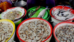 Sale of fish and prawns in the food market in Jakarta, Indonesia Footage