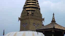 Roof of temple Kathmandu in Nepal Footage