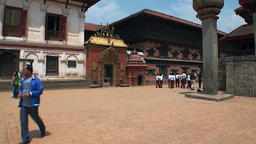 Locals in the colorful historic square of Kathmandu in Nepal Footage