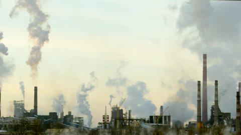 Company violates the environment, Smoking chimneys into the atmosphere Footage