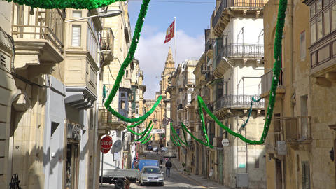 VALLETTA - MALTA, April, 2018: View of Malta town architecture and traffic Footage