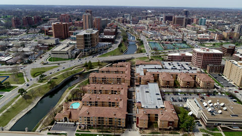 Aerial overhead of South Kansas City Country Club Plaza Area Footage