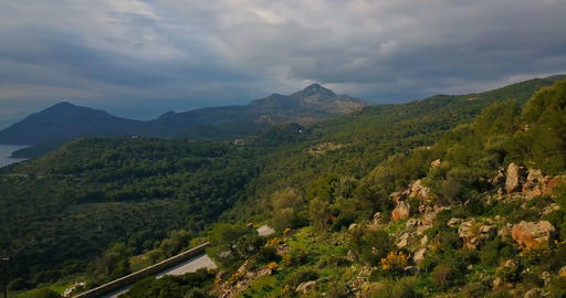 Aerial view of mountains and sea on Aegina island, Greece... Stock Video Footage