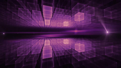 Purple Cubic Geometrical Horizon with Flare Animation