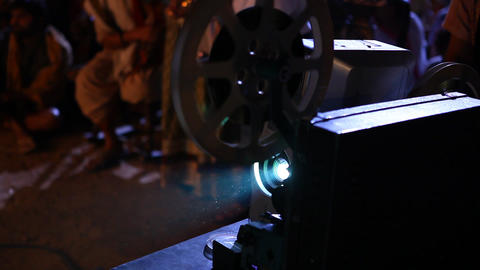 Old Projector Showing Film At Village stock footage