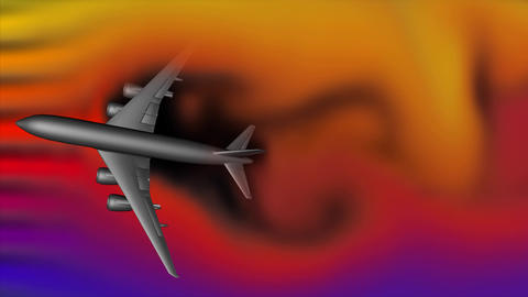 Airplane in wind turbulence field Animation