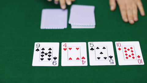 holdem poker dealer with playing cards Footage
