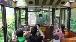 Tourists are on the tram from Victoria Peak.Hong Kong Videos de Stock