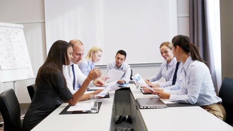 smiling business people meeting in office Footage
