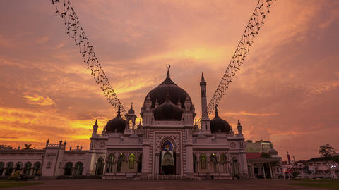 Sunset Time Lapse at Zahir Mosque Alor Setar Footage