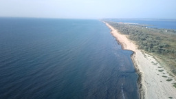 birds-eye panorama road to Crimea to Kerch Strait Footage