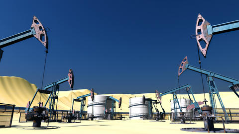 Looped Oil field with pumpjacks and pipeline Animation