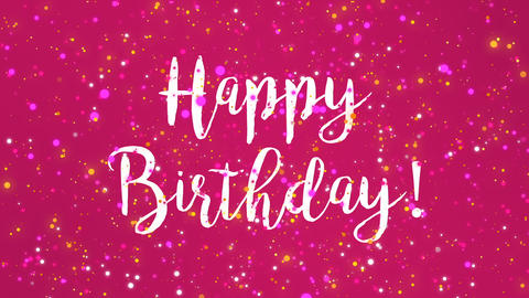Sparkly pink Happy Birthday greeting card video Animation