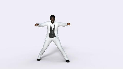 man african in a white suit dancing retro dance, White background,animation Animación