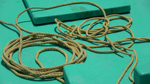 Rope in a fishing boat. Maldives video Archivo