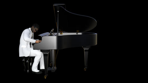 African Man Looks At The Piano,loop,animation,transparent Background Image