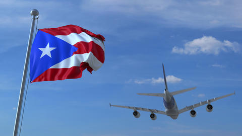 Commercial airplane flying above waving flag of Puerto Rico. Emigration or Footage