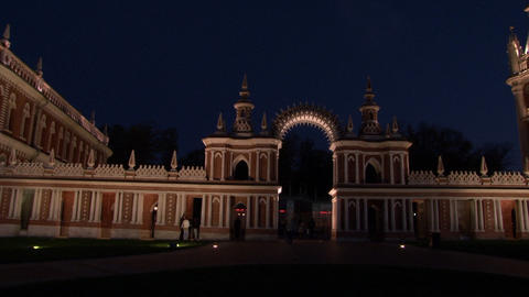 Moscow at night in Tsaritsyno Museum Stock Video Footage