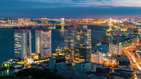 Sunset time-lapse of Tokyo Bay Footage