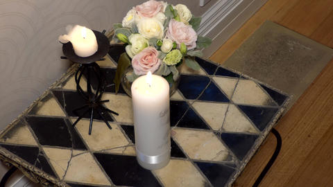Shot of Flower & candle used for a funeral Archivo