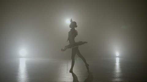 Graceful ballerina dressed in white performing a wonderful dance on a foggy Footage