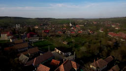 Aerial drone footage of village houses in Transylvania Footage