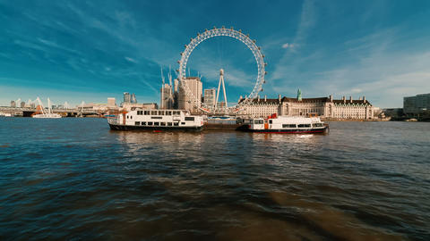 Thames and the River Banks of London, England, UK Footage