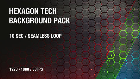 3-in-1 (FullHD) Hexagon Tech Background Pack 1 Animation