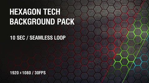 3-in-1 (FullHD) Hexagon Tech Background Pack 2 CG動画素材