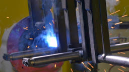 Metal welding robot in factory slow motion Footage