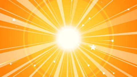 Sun Retro Background with Orange Rays Animation