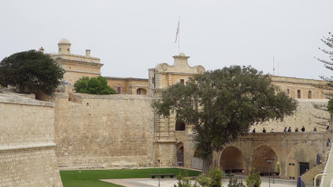 Ancient walls and fortifications of Mdina. Mdina is populer tourist destination Live Action