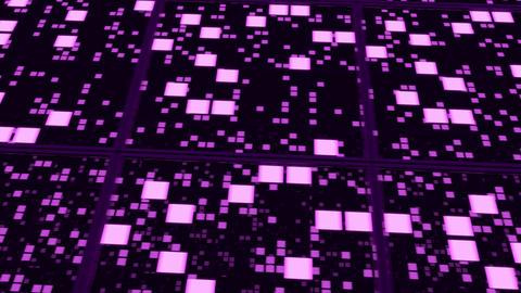 Perspective surfaces with purple random glowing tiles Animation