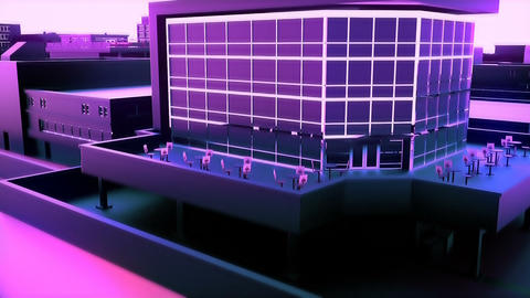 Camera moves through abstract magenta city. Loopable animation Animation