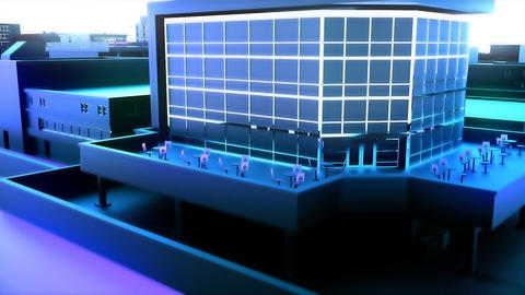 Camera moves through abstract blue city. Loopable animation Animation